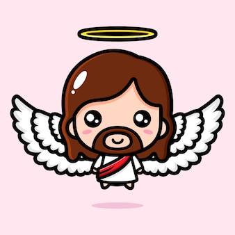 Conception mignonne de jésus-christ ailé