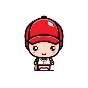 Conception mignonne de joueur de baseball