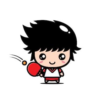 Conception mignonne de joueur de ping-pong