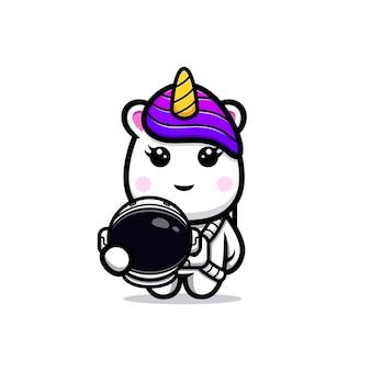 Conception mignonne de mascotte d'astronaute de licorne