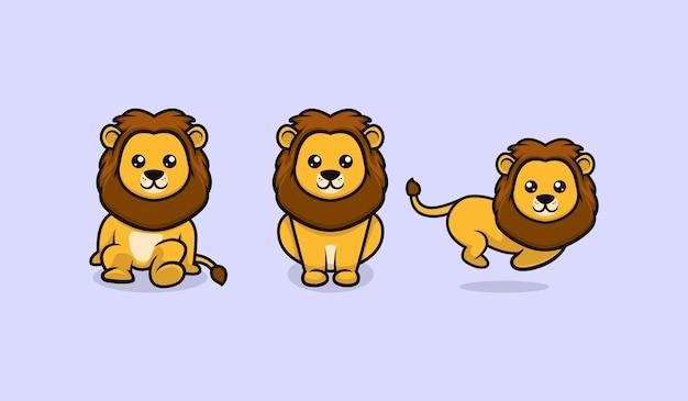 Conception mignonne de mascotte de lion de bébé avec le divers modèle de vecteur de pose