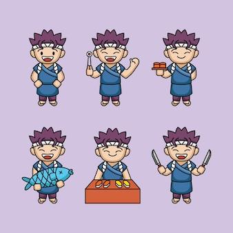 Conception mignonne de mascotte de maître de sushi