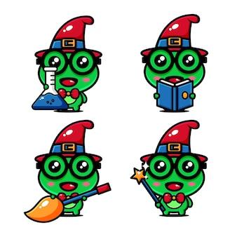 Conception mignonne de personnage de grenouille de sorcière sur le thème du monde de la sorcière