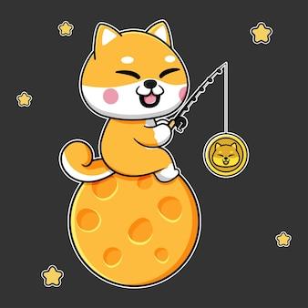 Conception mignonne de shiba inu sur le dogecoin de pêche de lune
