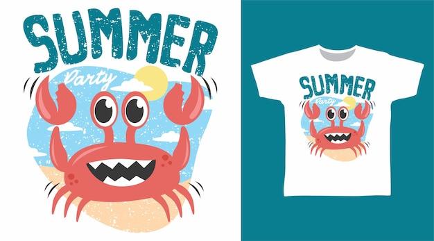 Conception mignonne de t-shirt de crabe d'été