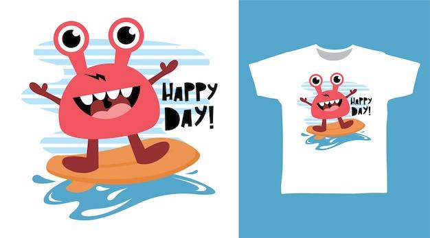 Conception mignonne de t-shirt de crabe de surfeur