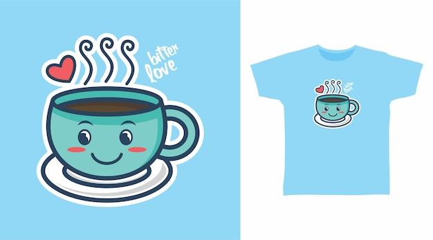 Conception mignonne de t-shirt en verre de café