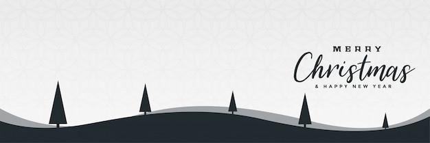 Conception minimale de bannière de scène de paysage de noël hiver