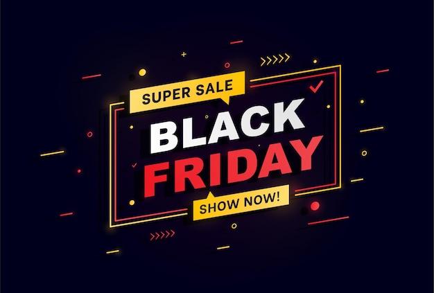 Conception de mise en page de bannière de vente de vendredi noir de grande vente publicité lumineuse de nuit