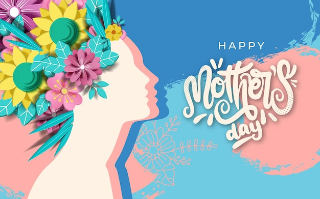 Conception de mise en page de bonne fête des mères avec roses, lettrage, ruban,