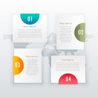 Conception de mise en page infographique blanche à quatre étapes moderne pour diagramme d'entreprise flux de travail