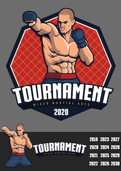 Conception mma fighter pour badge et logo