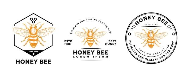 Conception de modèle d'abeille de miel pour logo, insigne et autres