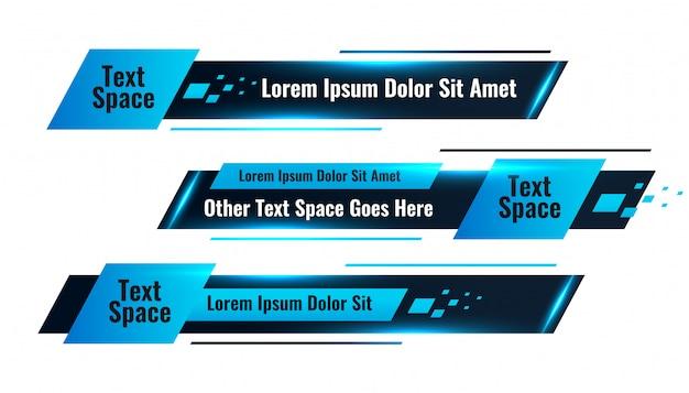 Conception de modèle abstrait bleu géométrique inférieur tiers