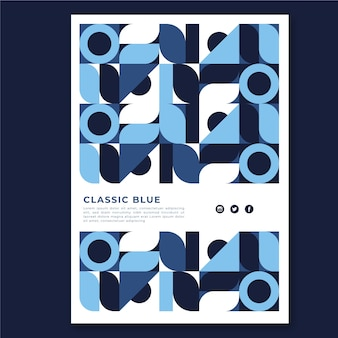 Conception de modèle d'affiche bleue classique abstratc
