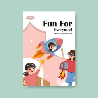 Conception de modèle d'affiche de la journée de la jeunesse pour dépliant et publicité aquarelle