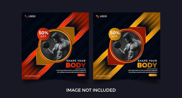 Conception de modèle d'affiche de médias sociaux d'entraînement de gym de remise en forme