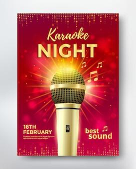Conception de modèle d'affiche de nuit karaoké avec microphone doré.