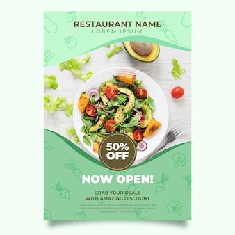 Conception de modèle d'affiche de restaurant de nourriture saine