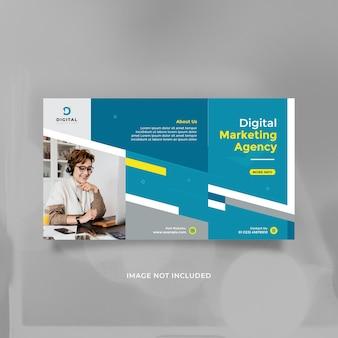 Conception de modèle d'agence de marketing numérique créative pour la publication sur les réseaux sociaux et la bannière avec du jaune bleu