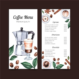 Conception de modèle aquarelle menu café