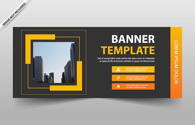 Conception de modèle de bannière abstrait orange square