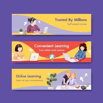 Conception de modèle de bannière d'apprentissage en ligne pour site web, publicité aquarelle