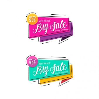 Conception de modèle de bannière coloré grande vente. achats en ligne rose et vert.