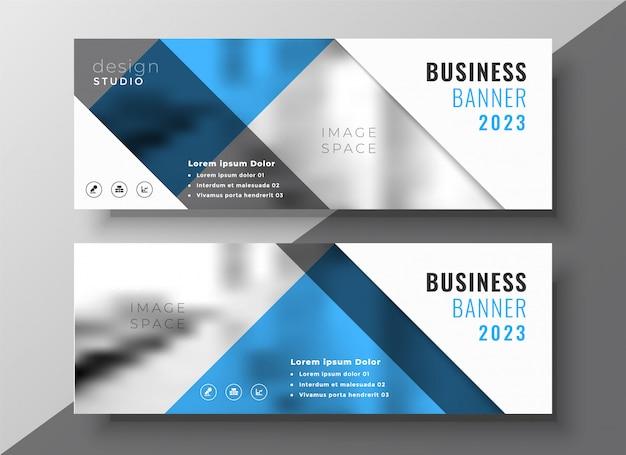 Conception de modèle de bannière entreprise flyer bleu