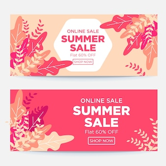 Conception de modèle de bannière d'été de vente en ligne