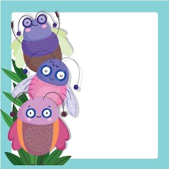 Conception de modèle de bannière illustration dessin animé animaux bugs drôles