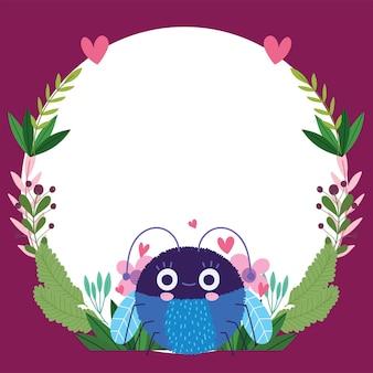 Conception de modèle de bannière d'illustration de dessin animé drôle de bogue animal décoration florale