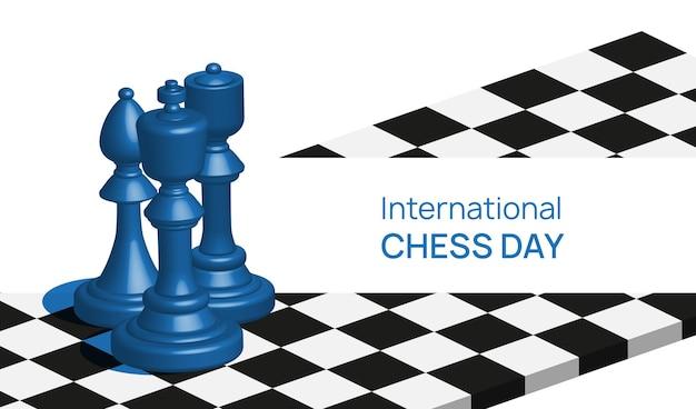Conception de modèle de bannière de la journée internationale des échecs de rendu 3d
