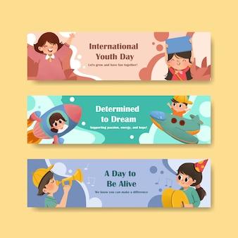 Conception de modèle de bannière de la journée de la jeunesse pour la journée internationale de la jeunesse, modèle, aquarelle publicitaire