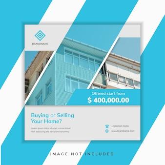 Conception de modèle de bannière de médias sociaux géométriques abstraites pour la promotion de l'achat et de la vente de votre maison