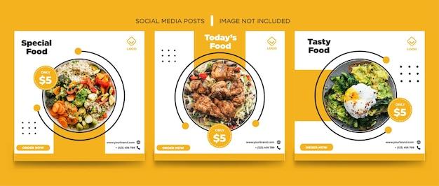 Conception de modèle de bannière de médias sociaux orange nourriture blanche
