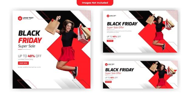 Conception de modèle de bannière de médias sociaux vendredi noir