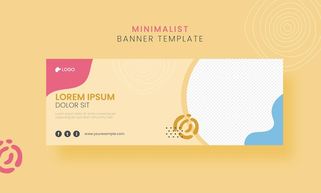 Conception de modèle de bannière minimaliste abstraite avec espace de copie sur fond jaune.