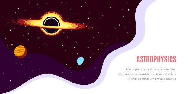 Conception de modèle de bannière pour l'espace extra-atmosphérique, la science, l'astronomie et l'astrophysique
