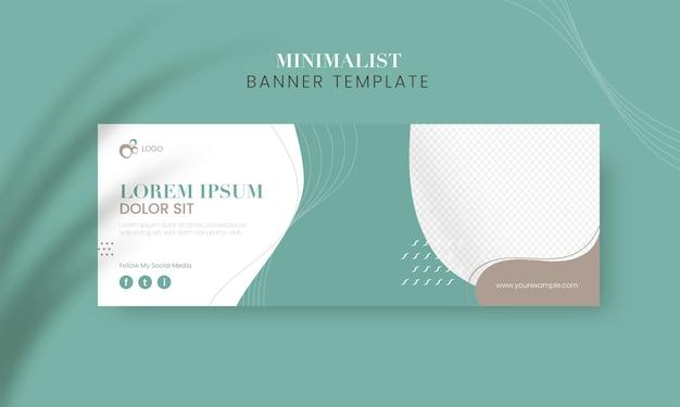 Conception de modèle de bannière publicitaire minimaliste en couleur sarcelle et blanche.