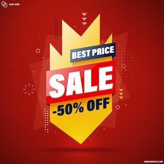 Conception de modèle de bannière slae au meilleur prix pour le web ou les médias sociaux, - 50% de réduction.