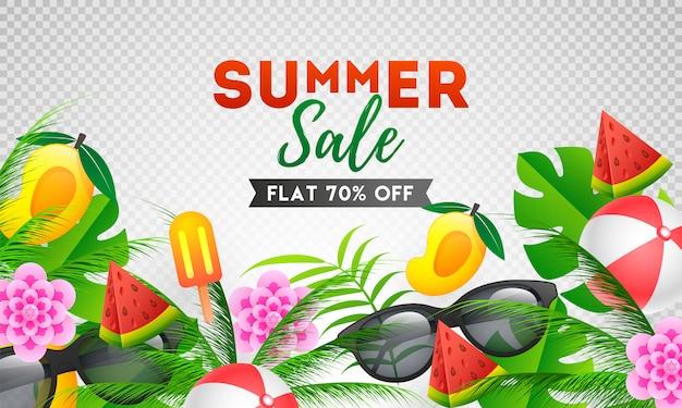 Conception de modèle de bannière summer sale avec offre de réduction