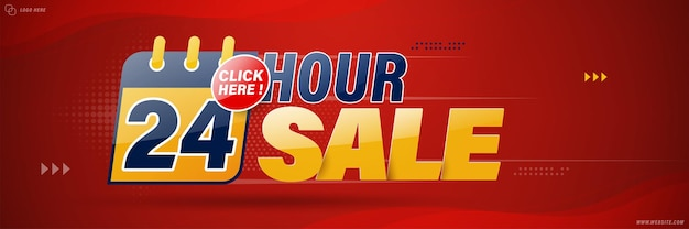Conception de modèle de bannière de vente 24 heures sur 24 pour le web ou les médias sociaux.