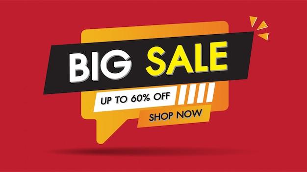 Conception de modèle de bannière de vente avec 60% de remise spéciale sur les grandes ventes