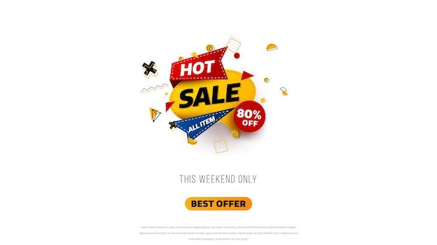 Conception de modèle de bannière de vente avec fond géométrique, offre spéciale de grande vente jusqu'à 80% de réduction. super vente, bannière d'offre spéciale de fin de saison. illustration vectorielle.