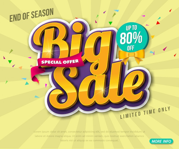 Conception de modèle de bannière de vente, grande vente spéciale jusqu'à 80% de réduction. super vente, bannière d'offre spéciale de fin de saison.