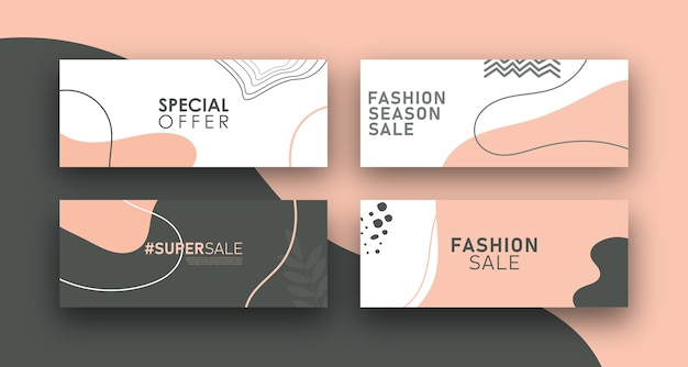 Conception de modèle de bannière de vente de mode