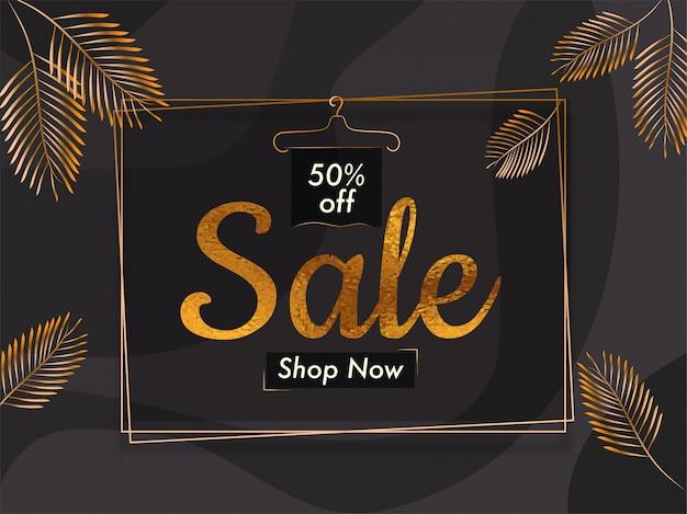 Conception de modèle de bannière de vente avec offre de réduction de 50% avec des feuilles de palmier d'or.