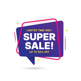 Conception de modèle de bannière de vente super affaire, offre spéciale grande vente. bannière d'offre spéciale de fin de saison. élément graphique de promotion abstraite.