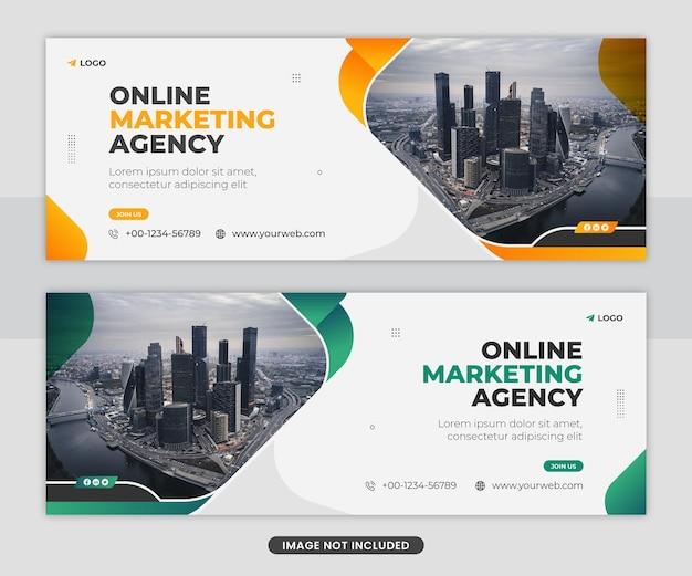 Conception de modèle de bannière web de couverture facebook d'agence de marketing numérique professionnelle